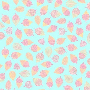 acorns - pastel pink and peach on ice blue