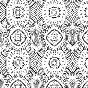 Lace-like Mandala Design Black and White - vertical