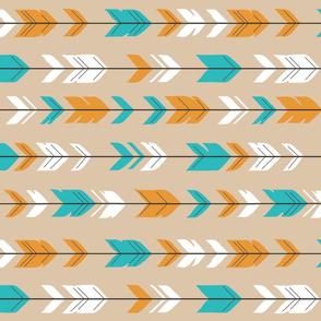 Arrow Feather - teal,orange,tan,white - Summer Woodland - Nursery