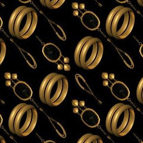 Gold Bangles and Earrings on Black