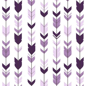 Arrow Feathers - purple on white - moonshade