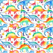 Rainbow Watercolour Dinosaurs - smaller scale