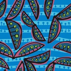 sweet peas in slate + mauve [jay + robin stripe]