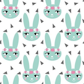 mint bunny rabbit cute flowers floral crown girls nursery baby mint rabbits