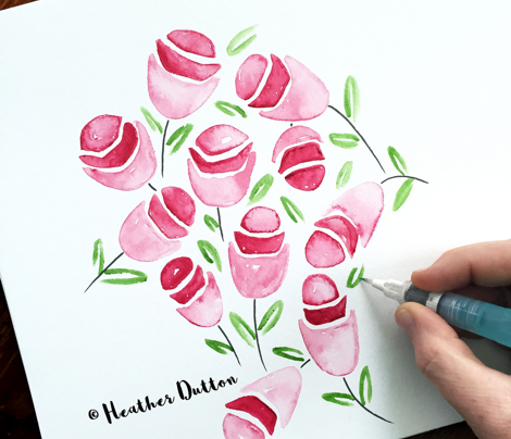 Cherry Pop Watercolor Floral
