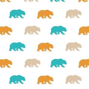 Bears - teal,orange,tan,white - Summer Woodland - Baby Boy