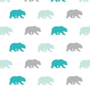 Bears - mint,teal,grey