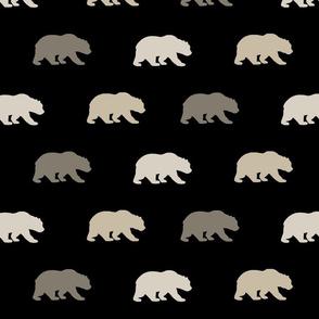 Bears - black,tan,taupe
