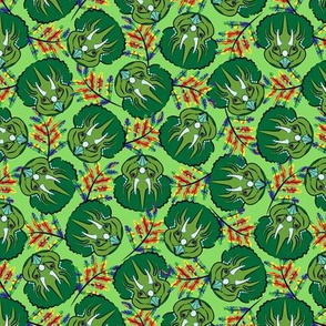 Scattered Triceratops Faces with Rainbow Leaves on Green