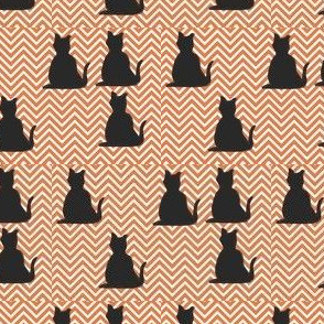 Black Cats on Orange Chevron
