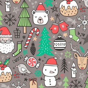 Xmas Christmas Winter Holiday Doodle with Snowman, Santa, Deer, Snowflakes, Trees, Mittens on Brown