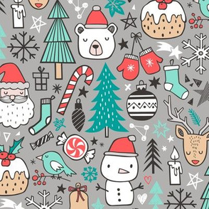 Xmas Christmas Winter Doodle with Snowman, Santa, Deer, Snowflakes, Trees, Mittens on Grey