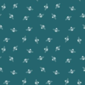 Bee White on Teal Ditsy