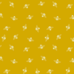 Bee White on Gold Ditsy