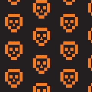 8-bit skulls--orange/black