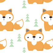 foxes on white-with-green-trees