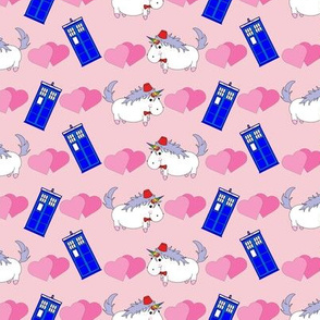 Unicorn with Fez and Police Box on Pink
