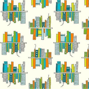 Cityscapes and bookshelves