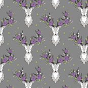 Deer Head on Dark Grey Purple Flowers  Smaller 3 inch