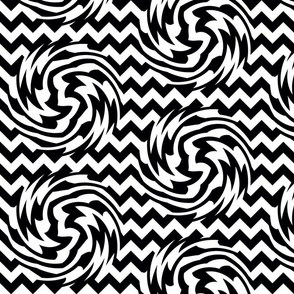 Black and white Chevron Swirls