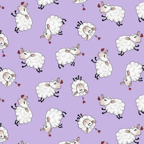 Ditsy Sheep Scatter - Purple