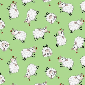 Ditsy Sheep Scatter - Green