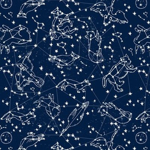 constellations // navy blue constellations animals cute baby animals constellation fabric