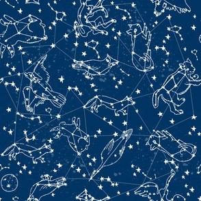 constellations // animal stars night sky constellations astronomy navy blue kids room cute stars constellation fabric