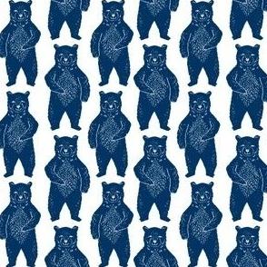 forest bear // navy blue bear linocut kids bear camping forest blue boys