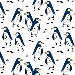 penguins // penguin fabric navy blue kids antarctic tundra winter animals birds