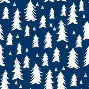 trees // navy blue trees triangles woodland forest fir tree kids nursery baby boys room