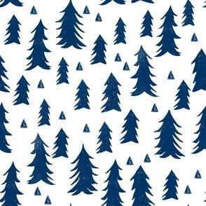 navy blue trees // trees navy kids room triangles fir tree camping outdoors navy blue tree fabric