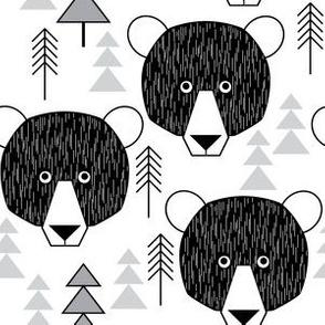 bear geometric on white