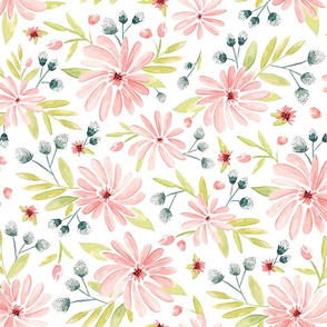 Amelia Watercolor Floral Pink