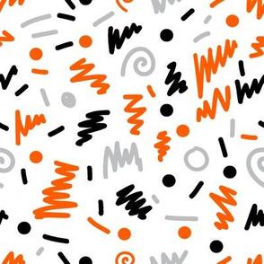 memphis design squiggles 80s rad art grey orange black trendy hipster halloween kids