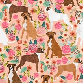 boxer florals peach flowers boxer dogs cute brindle dogs boxers