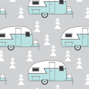 trailer- vintage turquoise on grey