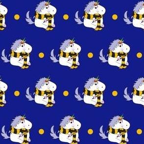 Unicorn Yellow School Wizard on Blue