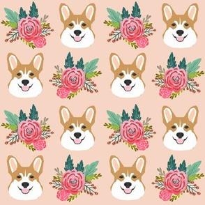 corgi head flowers florals blush peach cute girls flowers florals corgi dog fabric