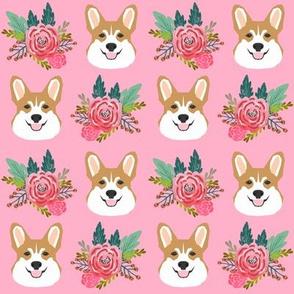 corgi flowers florals head cute flower dog dogs pet dog corgis pink fabric