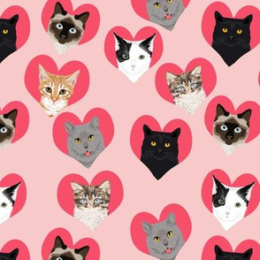 love cat pink  hearts cute valentines love cat kitty kitten cute hearts cat lady fabric