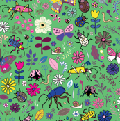 Butterflies, beetles & blooms - mint & pink