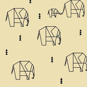 Elephants - pale yellow geometric animals elephants family || by sunny afternoon