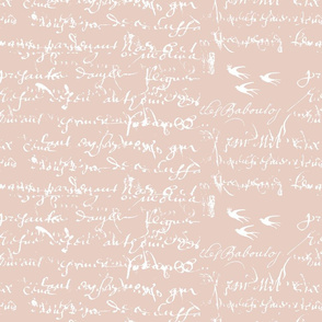 Blush and white french script