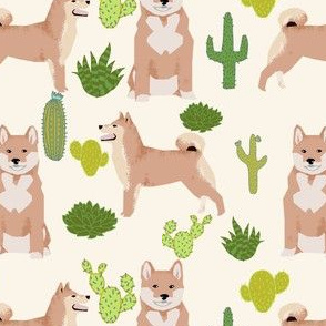 shiba inu cactus desert cactus dogs dog cute trendy dogs fabric