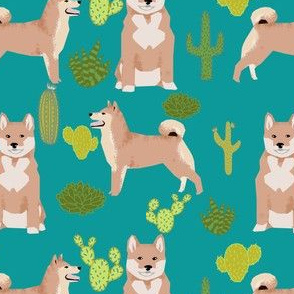 shiba inu dog cactus blue turquoise kids cute dogs pet dog fabric