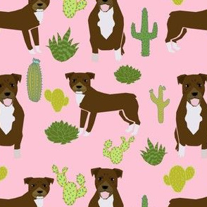 pitbull terrier pink cactus trendy cute rescue dog chocolate dog fabric