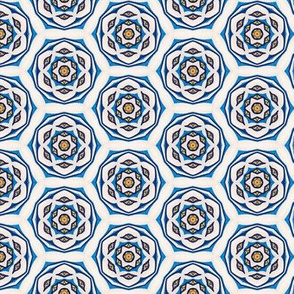 Blue, Yellow, and Ivory Honeycomb Flower