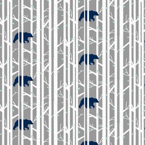 bear into the woods //indigo grey mint