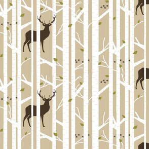 Into the woods - deer // taupe brown and moss